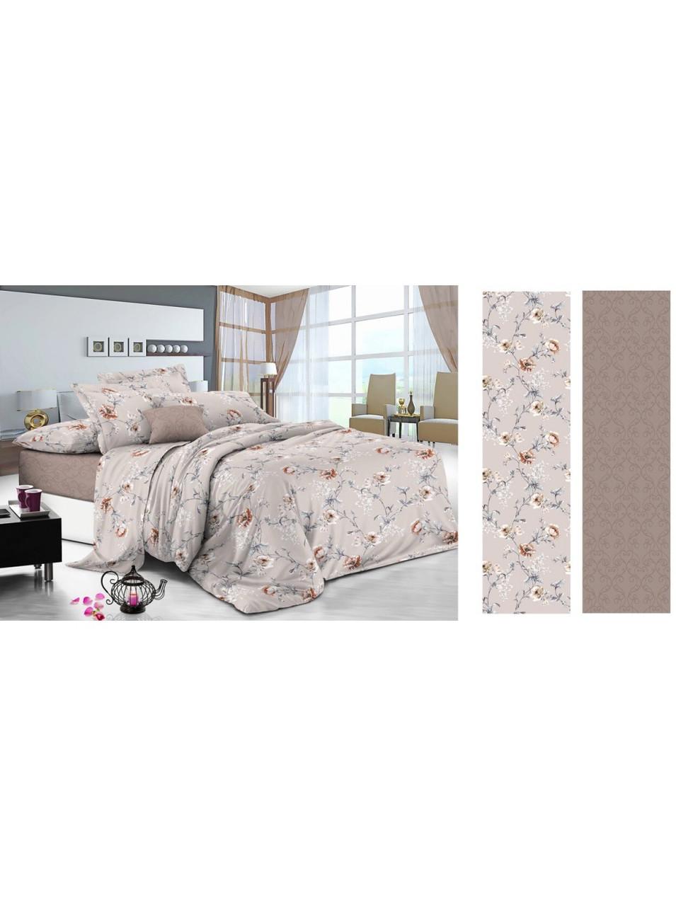 Комплект постельного белья сатин Цветы Украина