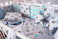 """Комплект детского постельного белья """"STAR"""" с бортиками подушками. Голубые панды"""
