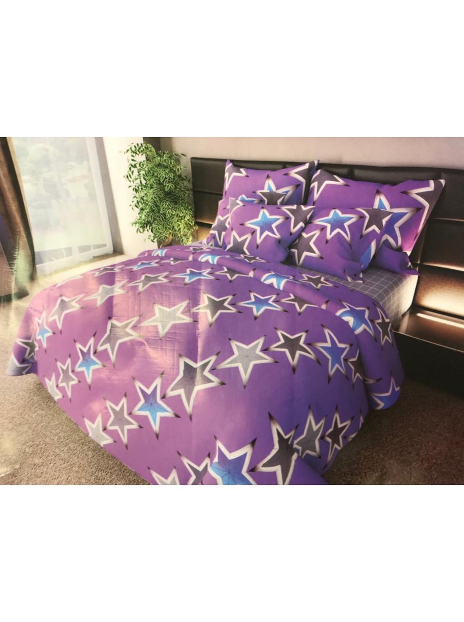 Комплект постельного белья бязь Большие Звезды На Розовом