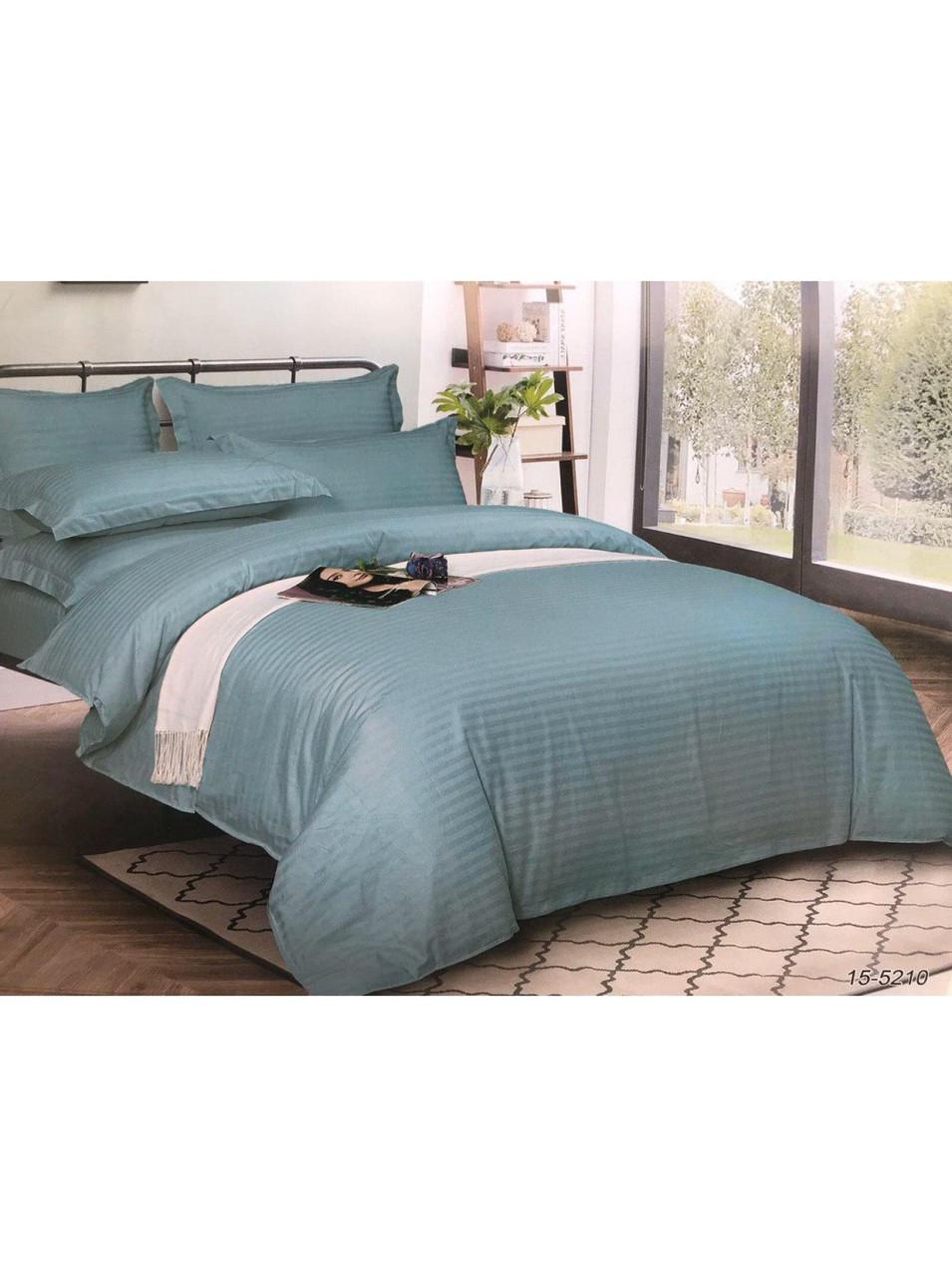 Комплект постельного белья страйп-сатин Бирюза
