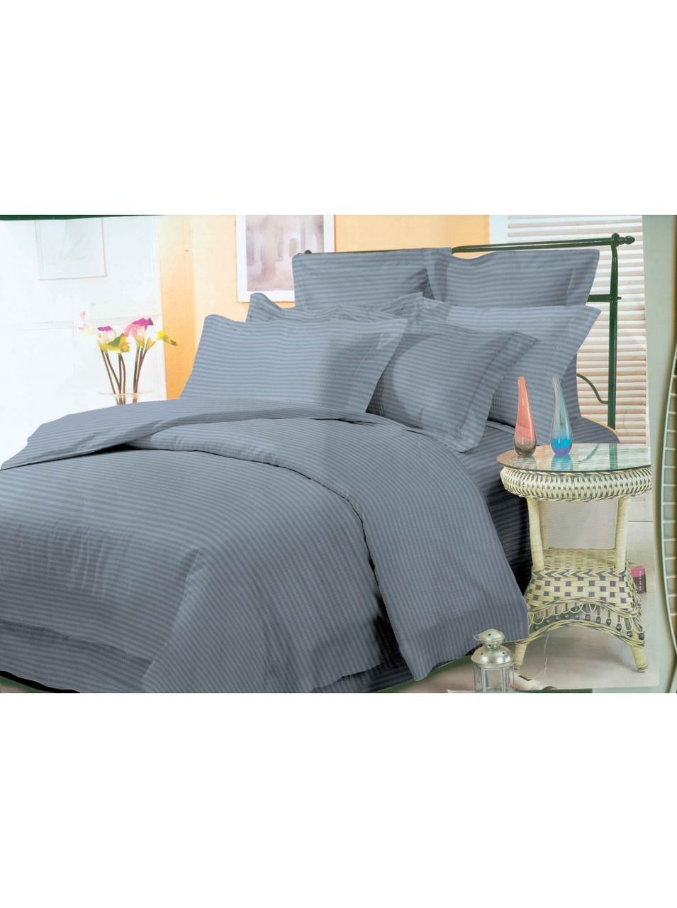 Комплект постельного белья страйп-сатин Графит