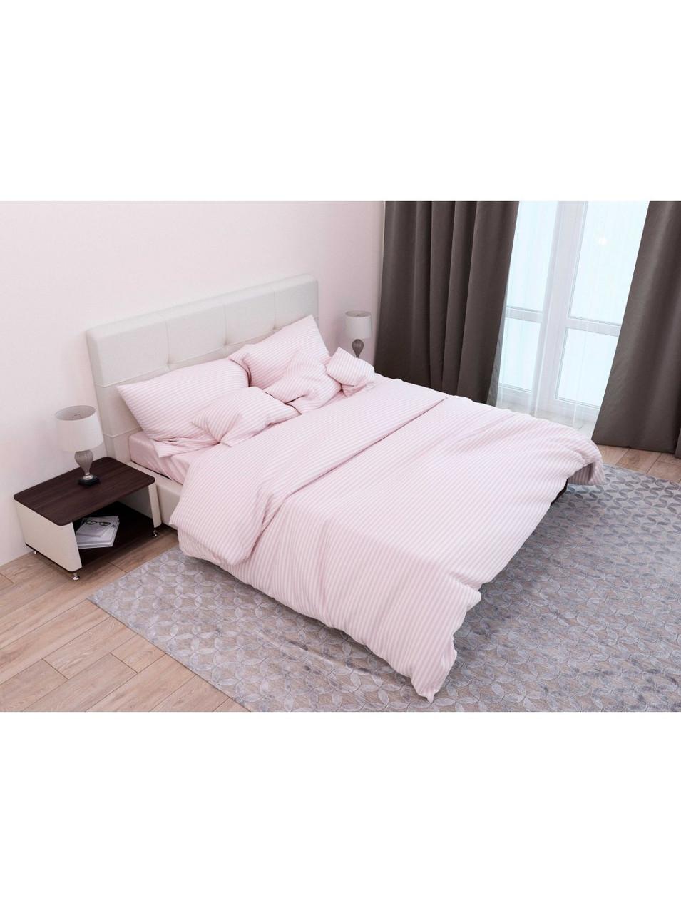 Комплект постельного белья страйп-сатин Пудра