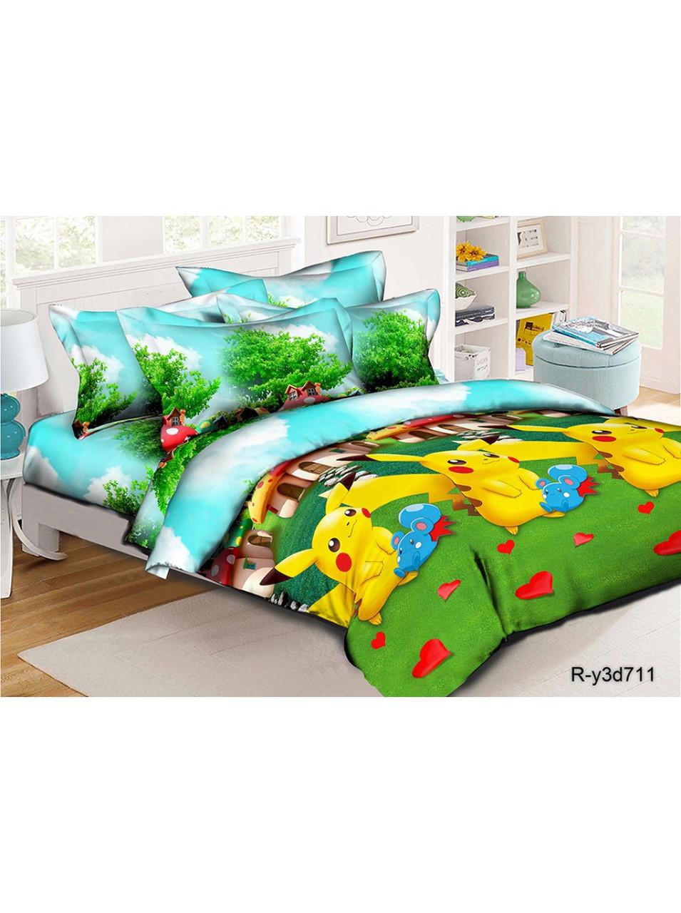Комплект детского постельного белья ранфорс Пикачу