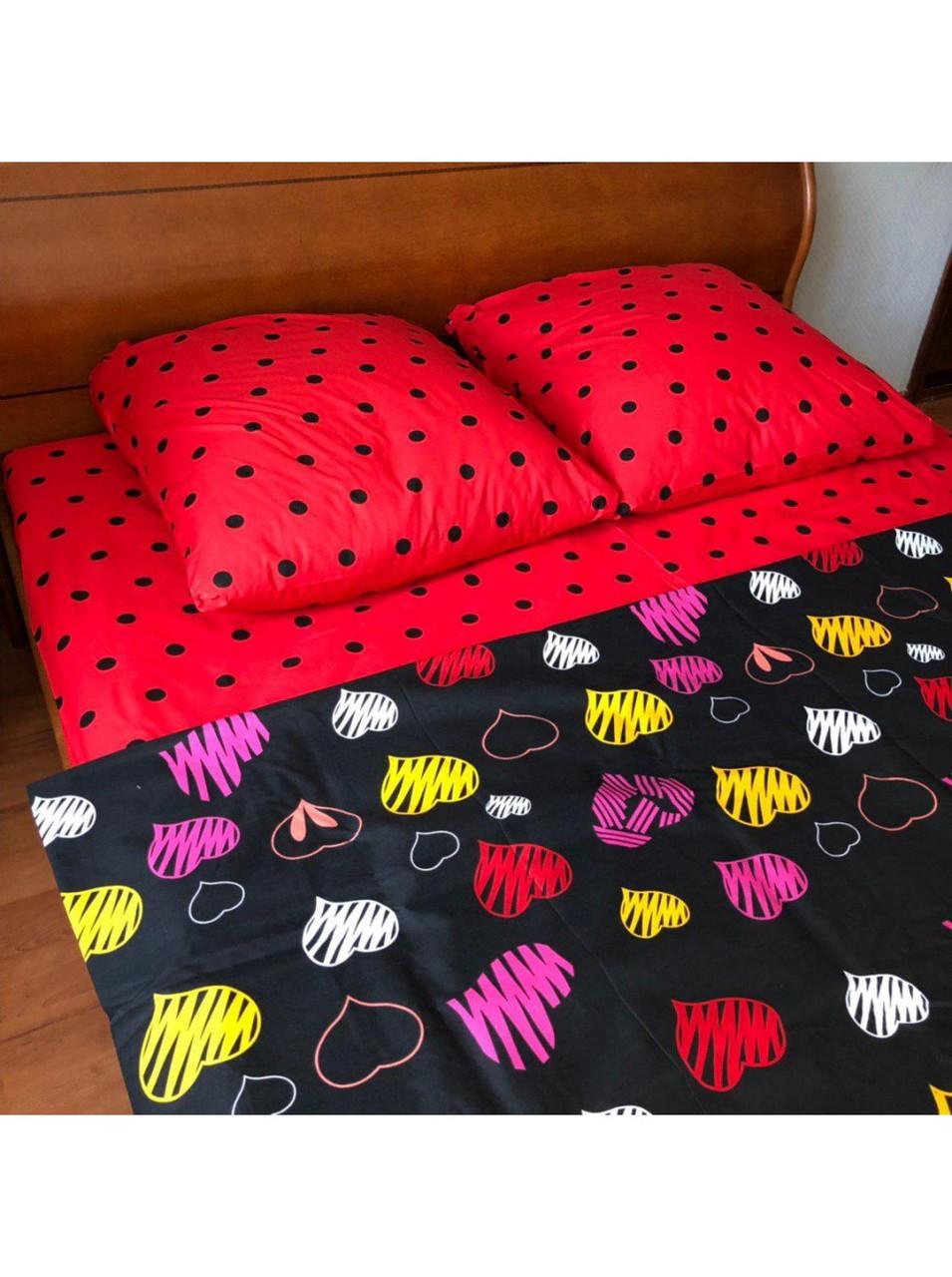 Комплект постельного белья бязь на резинке Много Сердец