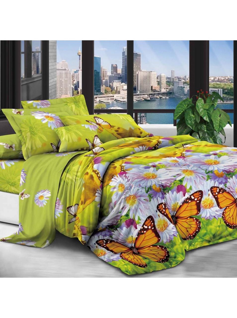 Комплект постельного белья полиэстер Ромашки и Бабочки