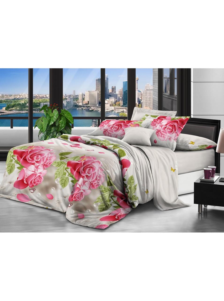 Комплект постельного белья полиэстер Большие Розовые Розы