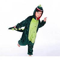 ✅ Детская пижама Кигуруми Динозавр зеленый (дракон, крокодил) 140 (на рост 138-148см)