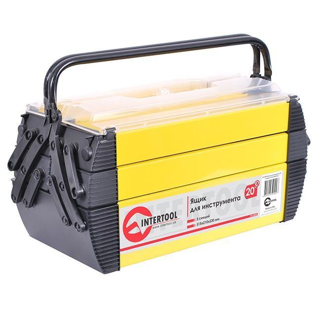 """✅ Ящик для инструмента металлический, 20"""", 5 секций, 515x210x230 мм INTERTOOL BX-5020"""