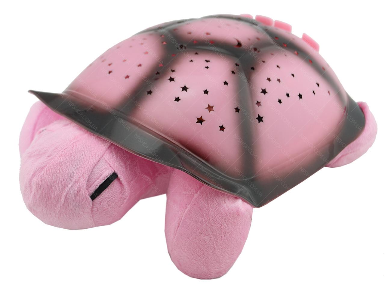 """Ночник """"музыкальная черепаха"""" проектор звездного неба (розовый)"""