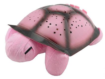 """Ночник """"музыкальная черепаха"""" проектор звездного неба (розовый), фото 2"""