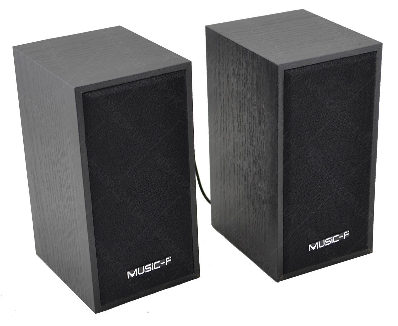 Компьютерные деревянные колонки акустика Music-F D09 (черные)