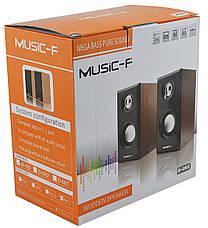 Компьютерные деревянные колонки акустика Music-F D09 (черные), фото 3