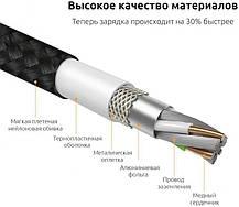 Магнитный кабель Dellta для Iphone Lightning DM-M12 в тканевой оплетке Black, фото 3