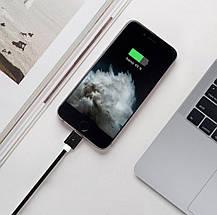 Магнитный кабель Dellta для Iphone Lightning DM-M12 в тканевой оплетке Black, фото 2