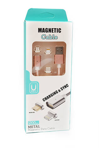 Магнитный кабель Magnetic с переходниками в тканевой оплетке Rose Gold, фото 2
