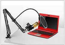 Студийный микрофон Music D.J. M800U со стойкой и ветрозащитой Black/Gold, фото 2
