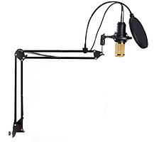 Студийный микрофон Music D.J. M800 со стойкой и ветрозащитой Black/Gold, фото 2