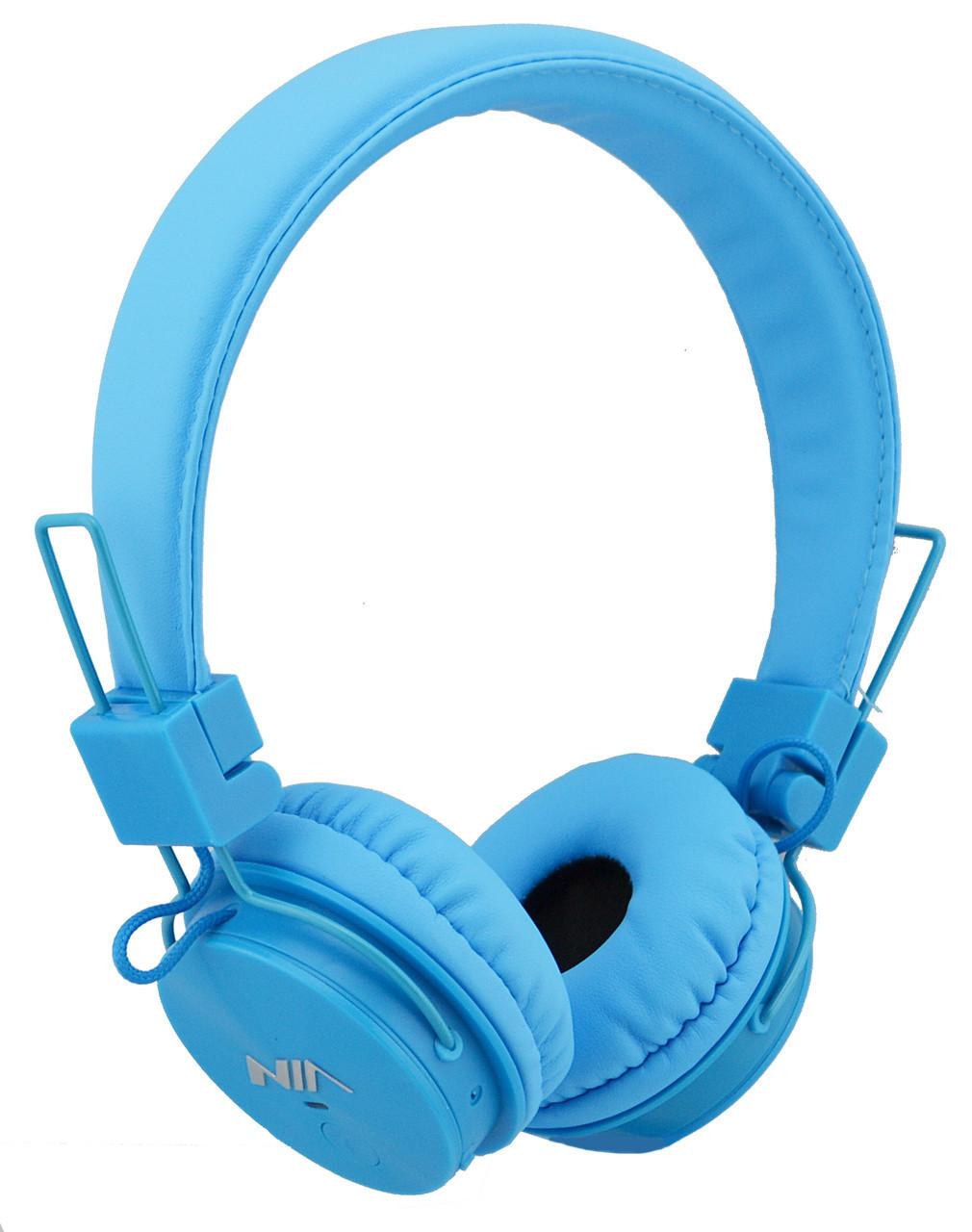 Беспроводные Bluetooth стерео наушники NIA X3 с МР3 и FM Blue