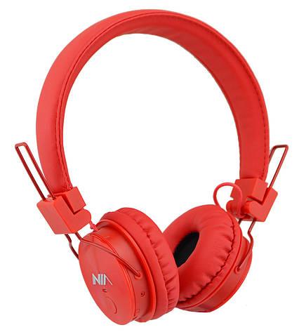 Беспроводные Bluetooth стерео наушники NIA X3 с МР3 и FM Red, фото 2