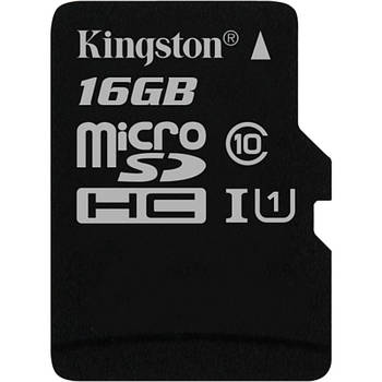 Карта памяти 16 Gb microSD Kingston UHS-I Canvas Select (R-80MB/s) (SDCS/16GBSP) (без адаптера)