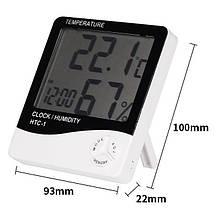 Термогигрометр UKC HTC-1 часы будильник метеостанция, фото 2