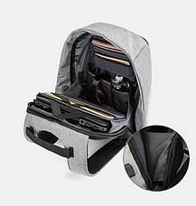 """Рюкзак Antivor c защитой от карманников и с USB зарядным устройством 15"""" Grey, фото 3"""