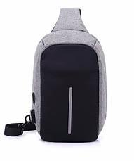 Рюкзак Antivor через плечо c защитой от карманников, с USB зарядным и портом для наушников Grey, фото 2