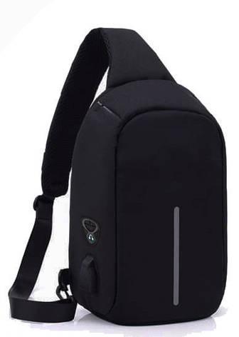 Рюкзак Antivor через плечо c защитой от карманников, с USB зарядным и портом для наушников Black, фото 2