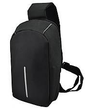 Рюкзак Antivor через плечо c защитой от карманников, с USB зарядным и портом для наушников Black, фото 3