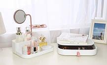 Настольный ящик-органайзер для хранения косметики с зеркалом UKC 7009, фото 2