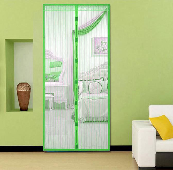Москитная сетка на магнитах на дверь Magic Mesh зеленая