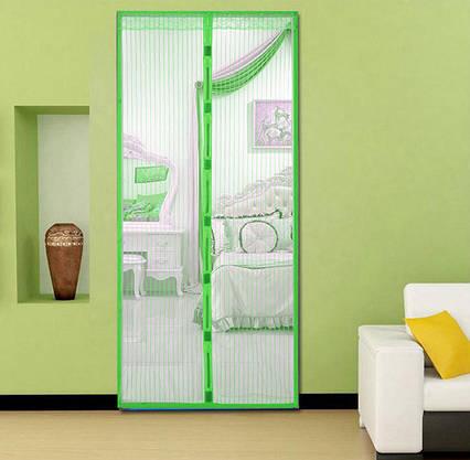 Москитная сетка на магнитах на дверь Magic Mesh зеленая, фото 2