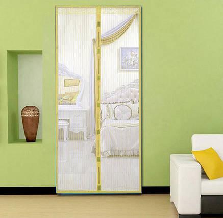 Москитная сетка на магнитах на дверь Magic Mesh желтый, фото 2