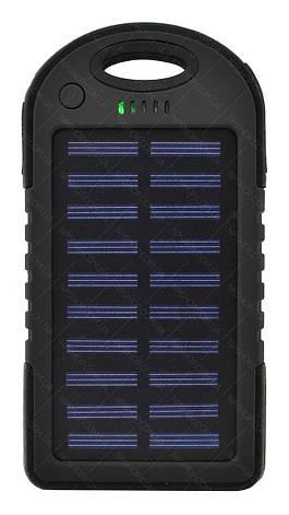 Зовнішній акумулятор Power bank UKC PB-263 10000 mAh з сонячною панеллю і ліхтариком Чорний, фото 2