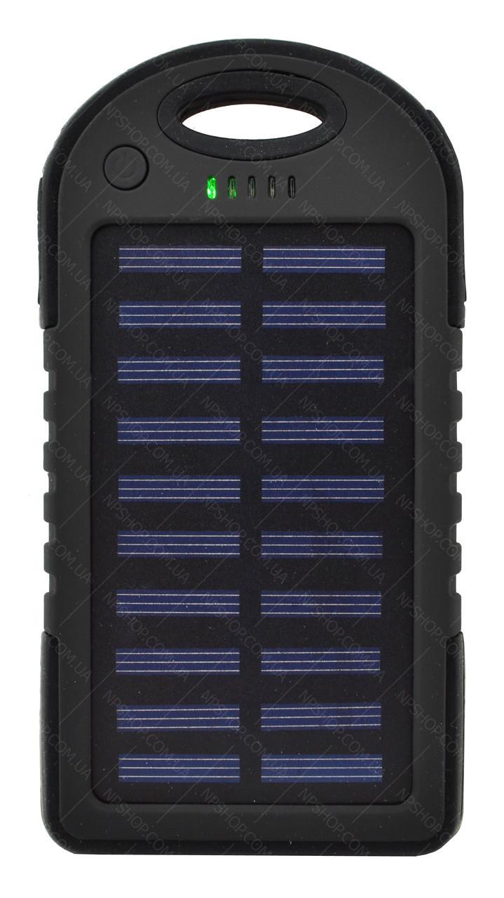 Зовнішній акумулятор Power bank UKC PB-263 10000 mAh з сонячною панеллю і ліхтариком Чорний