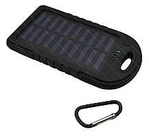 Зовнішній акумулятор Power bank UKC PB-263 10000 mAh з сонячною панеллю і ліхтариком Чорний, фото 3
