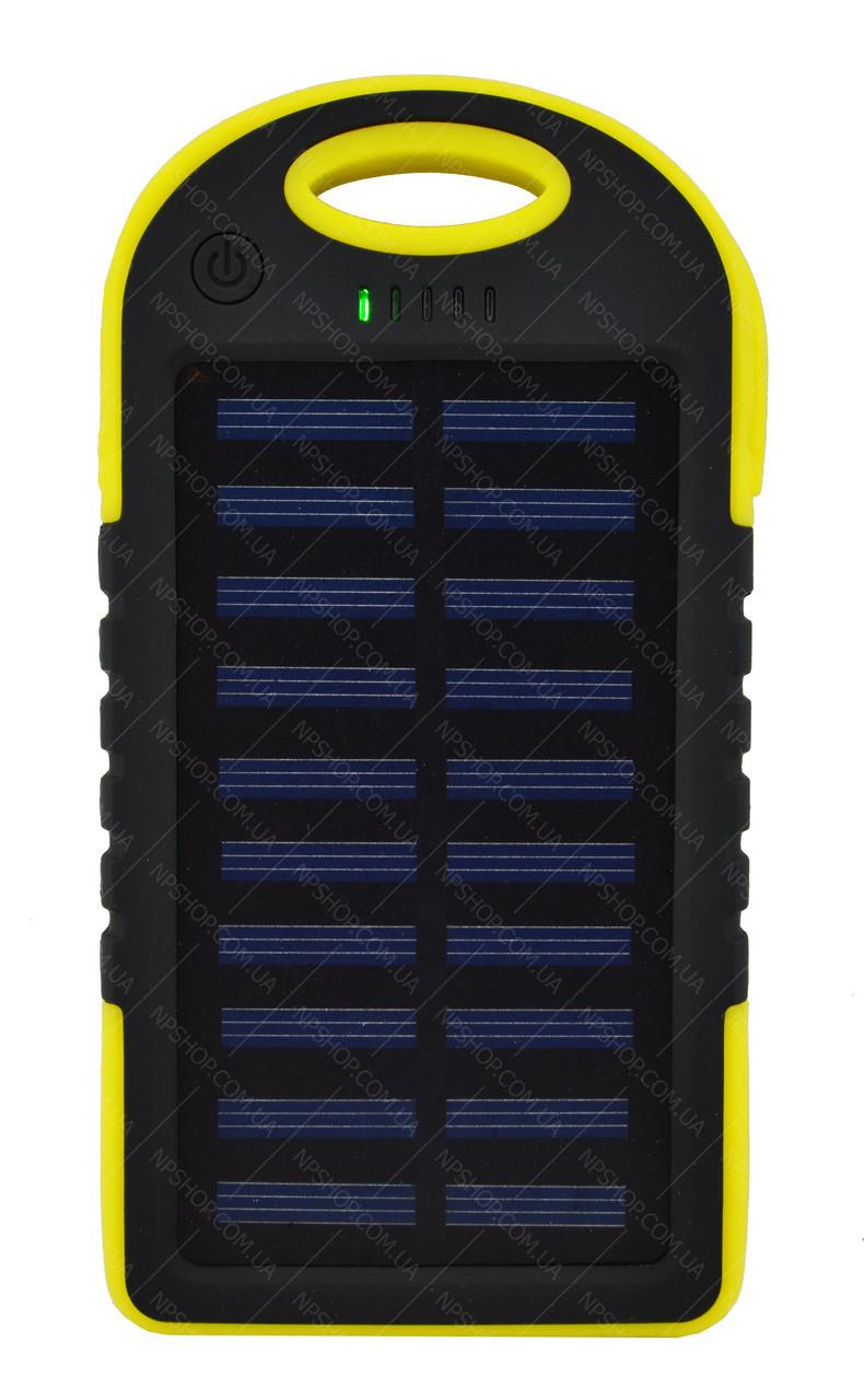 Внешний акумулятор Power bank UKC PB-263 10000 mAh с солнечной панелью и фонариком Черный с желтым
