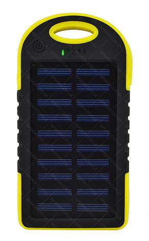 Внешний акумулятор Power bank UKC PB-263 10000 mAh с солнечной панелью и фонариком Черный с желтым, фото 2