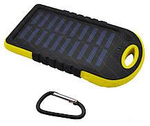 Внешний акумулятор Power bank UKC PB-263 10000 mAh с солнечной панелью и фонариком Черный с желтым, фото 3