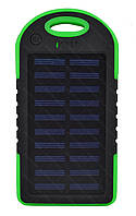 Внешний акумулятор Power bank UKC PB-263 10000 mAh с солнечной панелью и фонариком Черный с зеленым
