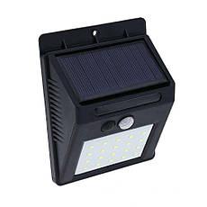 Світильник SH-A09 з датчиком руху і сонячною панеллю 20 smd настінний вуличний Black, фото 2