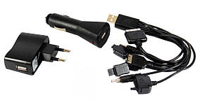 Универсальное зарядное устройство от сети 220в и от прикуривателя 10 в 1 Mobi Charger C12 черный, фото 2