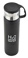 Термос H2O 500 мл з чашкою металевий 4784 чорний, фото 2