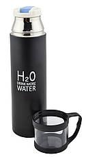 Термос H2O 500 мл з чашкою металевий 4784 чорний, фото 3