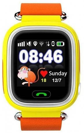 Дитячі телефон-годинник з GPS трекером UWatch Q100 жовті, фото 2
