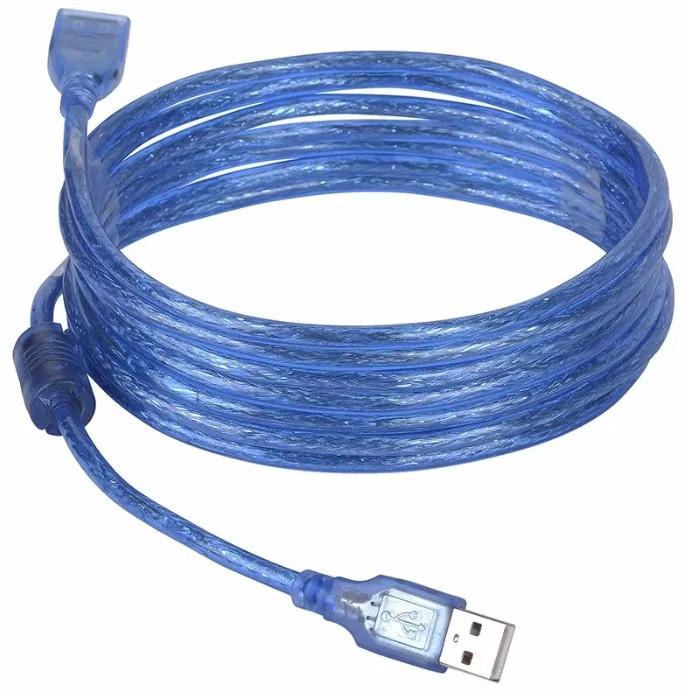 Кабель подовжувач USB A - USB F 5 метрів Blue