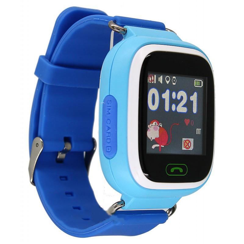 Детские умные часы-телефон с GPS и прослушкой Q100 (Q90) голубой