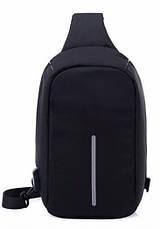 Рюкзак Bobby через плечо c защитой от карманников, с USB зарядным и портом для наушников черный (реплика), фото 2