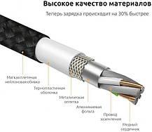 Магнітний кабель Dellta для Iphone Lightning DM-M12 в тканинній обплетенні чорний, фото 3