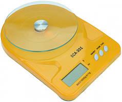 Кухонные электронные весы со стеклянной чашей SСА 301 5 кг + батарейки (желтый)